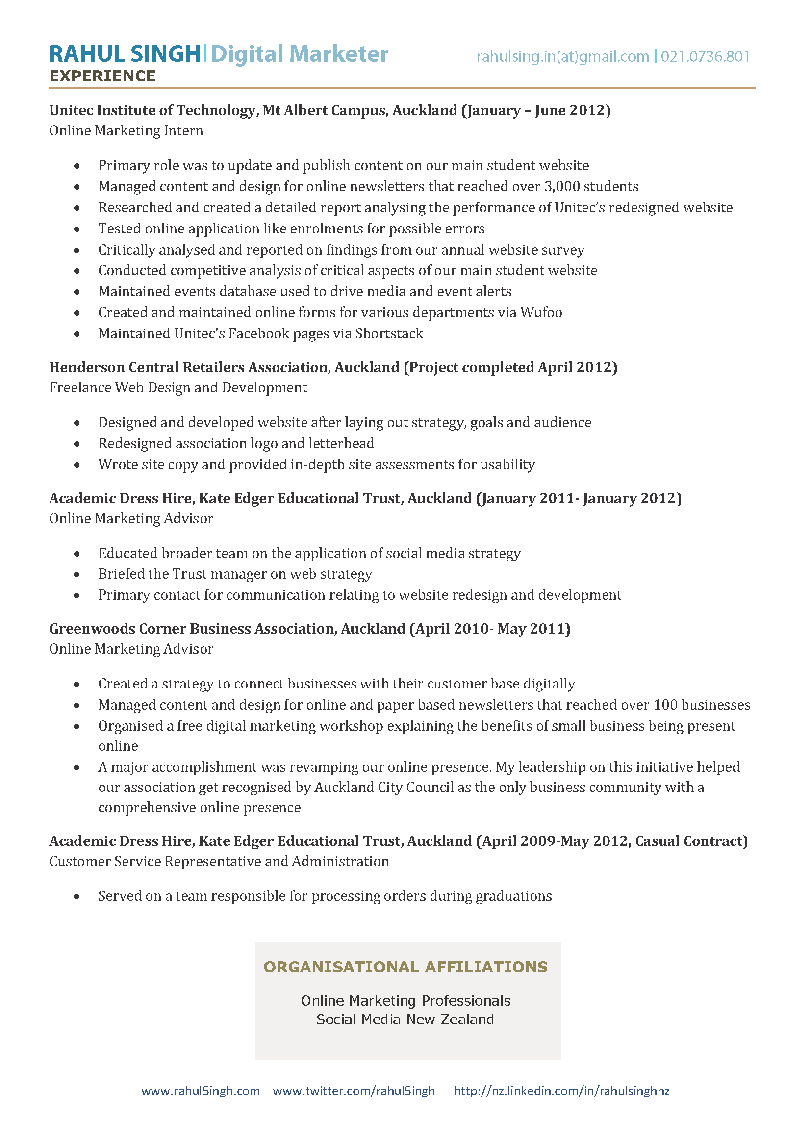 Great Online ... Idea Digital Strategist Resume